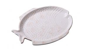 30 cm keraamiline kalakujuline kandik, kreemvalge