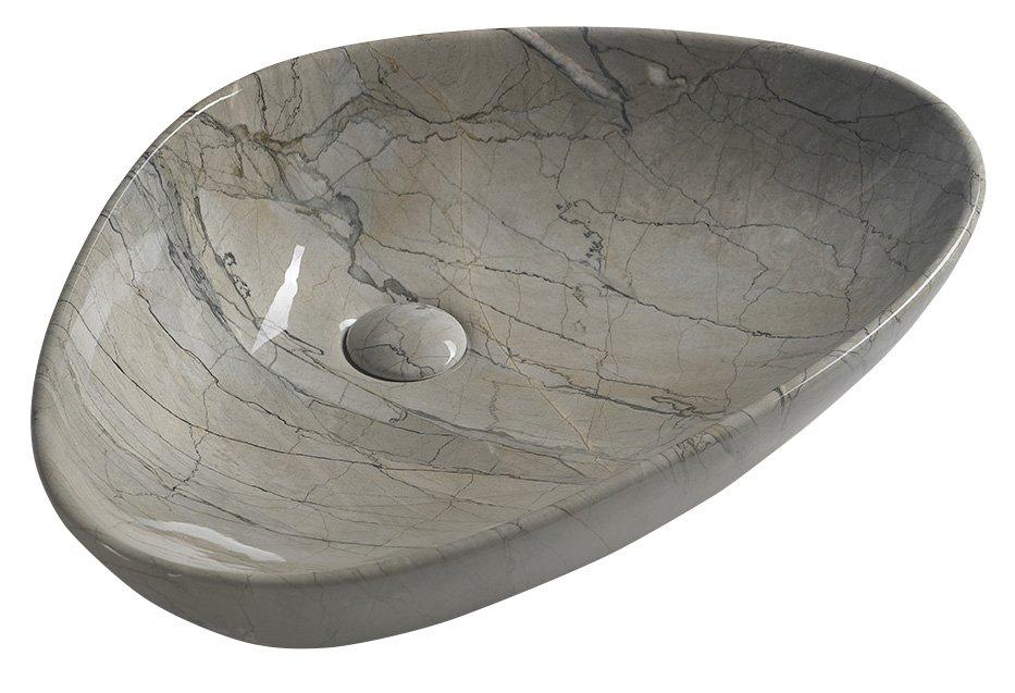 pesuallas Interia Dalma harmaa, 58.5x39x14 cm, pohjaventtiili ei kuulu toimitukseen