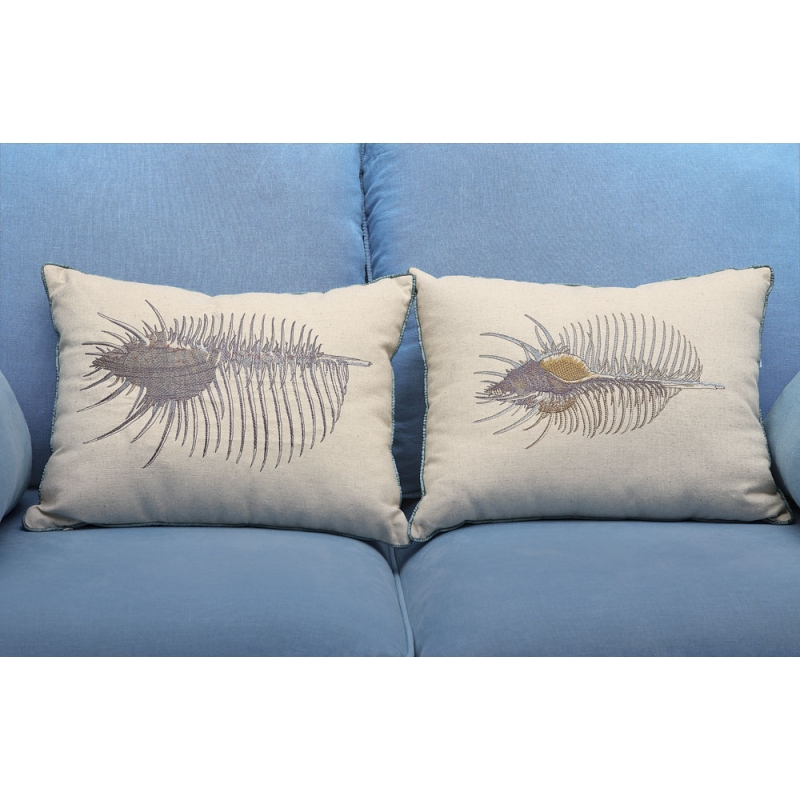 """17-3/4""""L Rect Linen/CottonEmbroid Pillow w/Shell, 2 Sty les"""