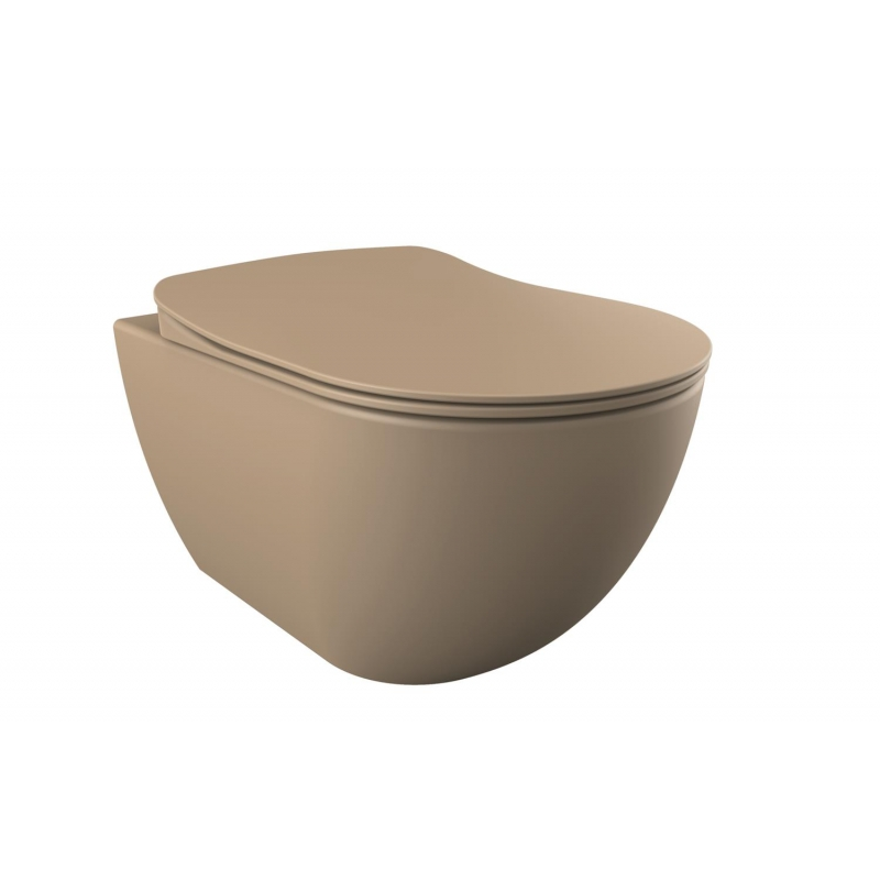 wall hung toilet Free, mat cappucino, without seat