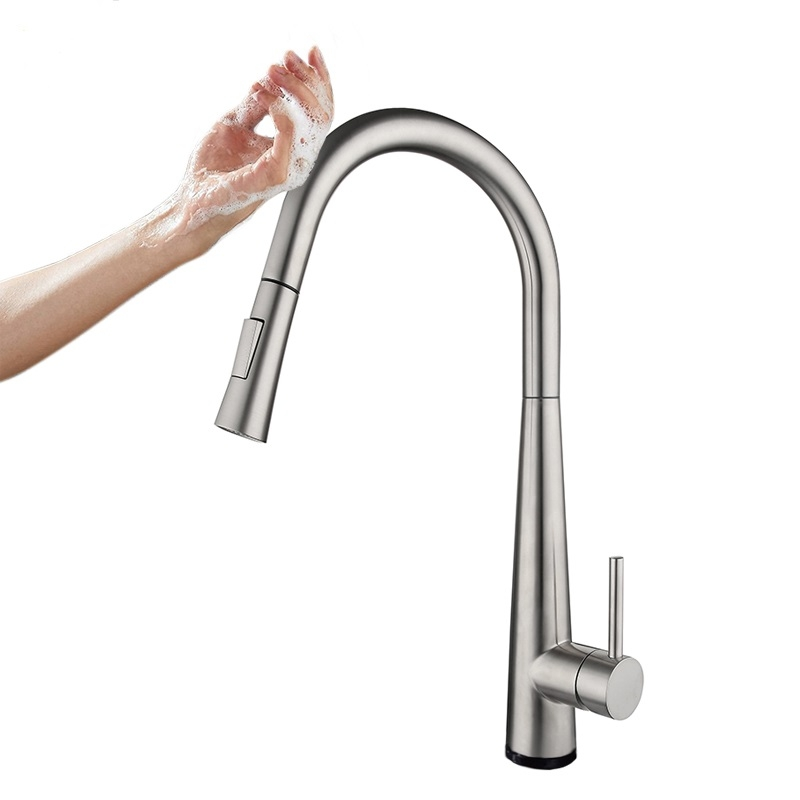 """""""Touch free"""" kitchen mixer Cherry, brushed steel"""