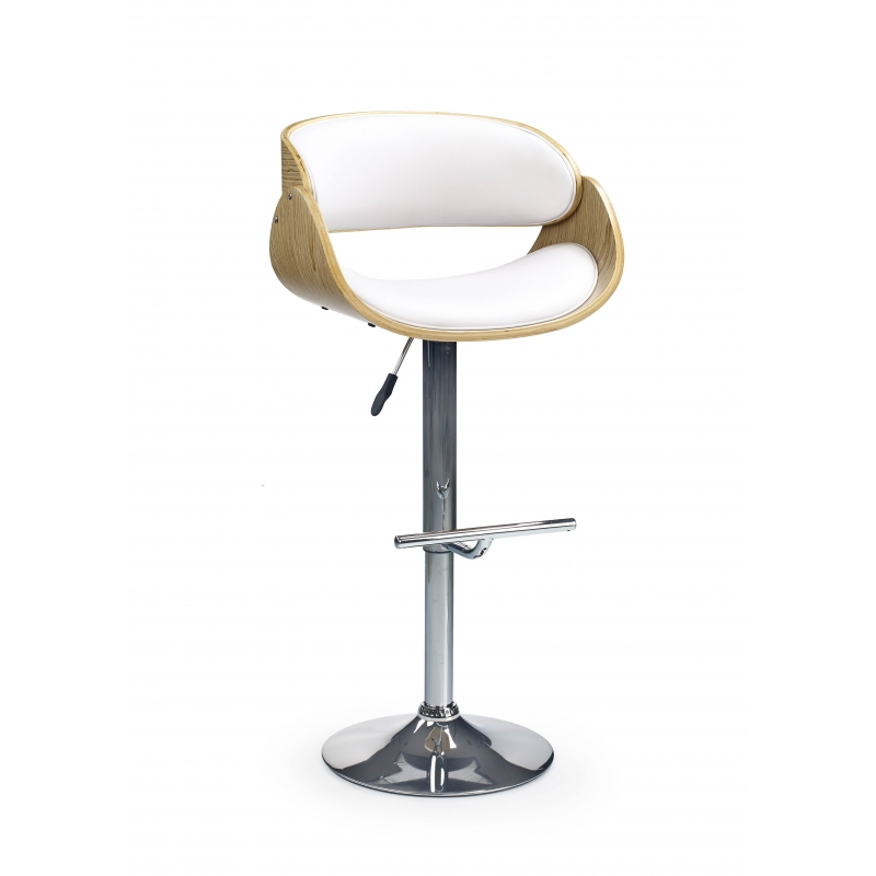 bar chair, artificial leather+wood+metal, adjustable height,white
