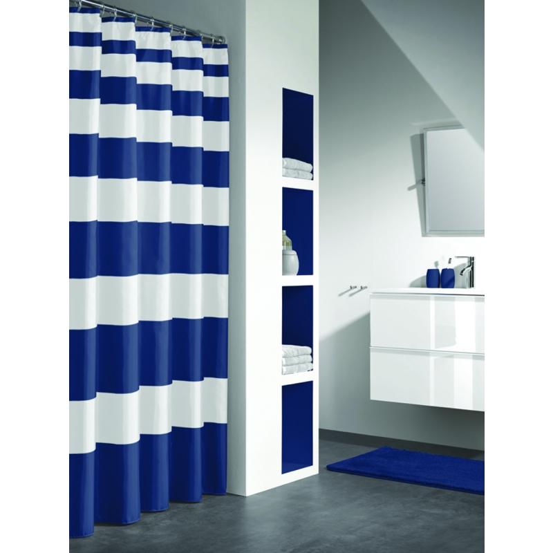 NAUTICA shower curtain textile, blue, 180x200cm @ Deko
