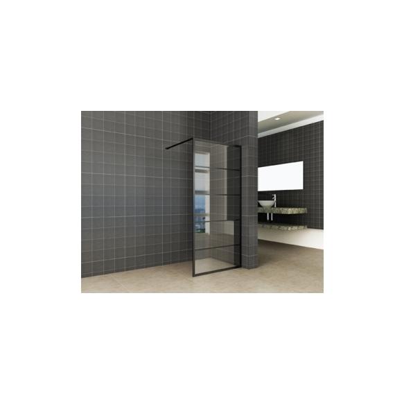 dušisein Horizon 1100x2000x8 mm, matt must, nanotöödeldud klaas