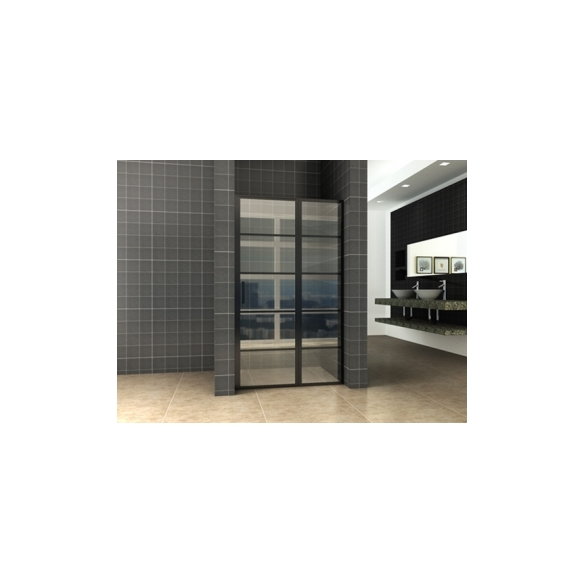 dušiuks Horizon (R/L) 80 cm, 8 mm, matt must, nanotöödeldud klaas