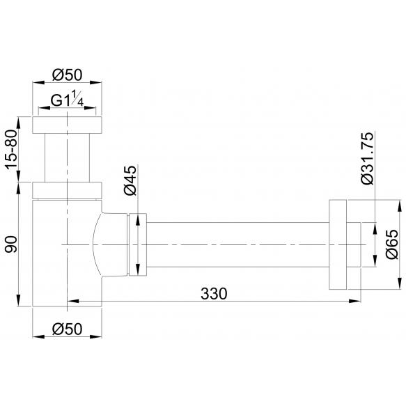 sifoonikomplekt Star Lux 1 1/4´´, harjatud teras