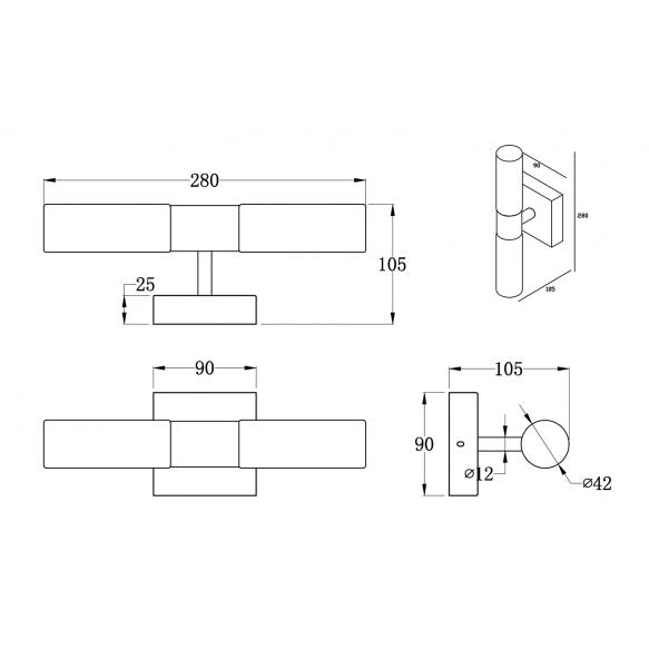 ABAS valgusti, G9 2x25W, 230V, IP44 kroom
