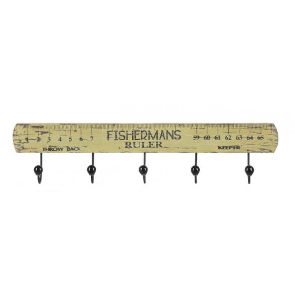 "25""L x 5-1/2""H Wood ""Fisherman's Ruler"" Wall Plaque w/ 5 Hooks"
