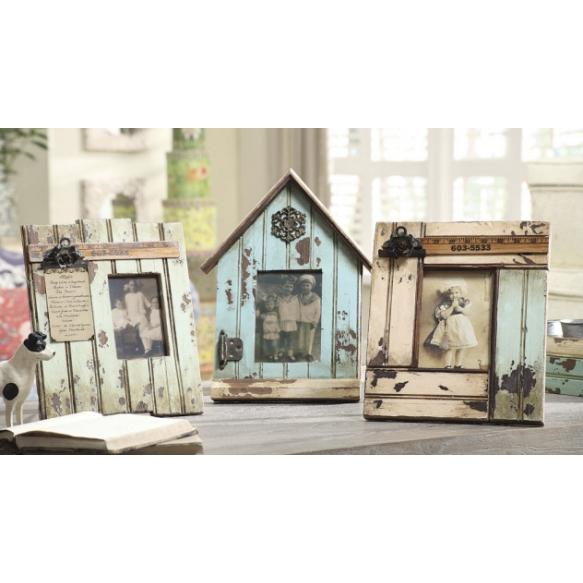 "4x6"" & 5x7"" Wood Photo Frame w/ Metal Embellishments, 11""L x 13""H, 3 Styles"