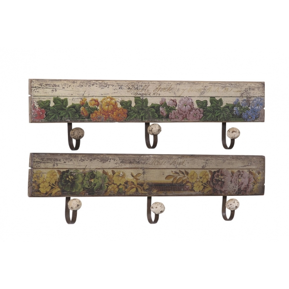 "24-3/4""L Wood Wall Plaquew/Floral Design- 3 Hks, 2 Styles"