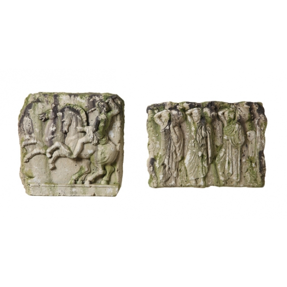 """15""""L Resin Wall Plaque, Distressed Moss Finish, 2 Styles"""