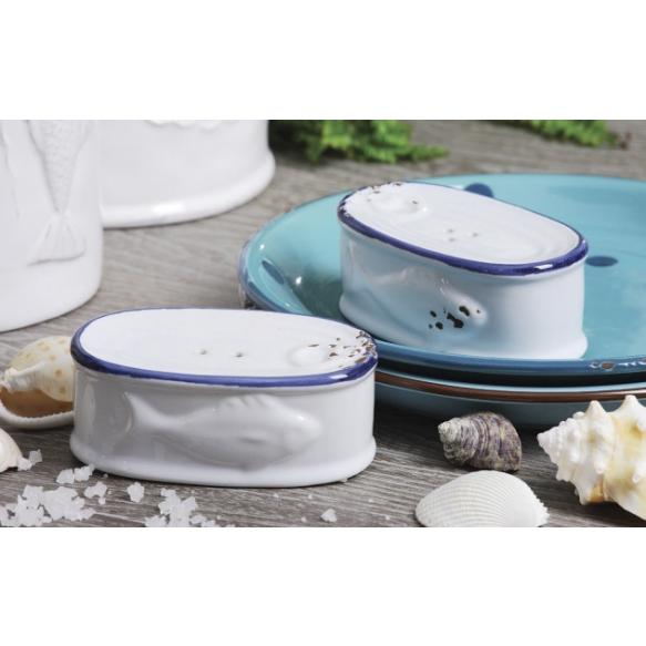 "4""L Stoneware Enamel Look Sardine Can Salt & Pepper Shakers, Set of 2"