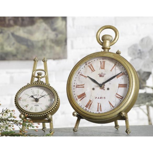 "12""H Zinc Clock w/ Easel, Gold"