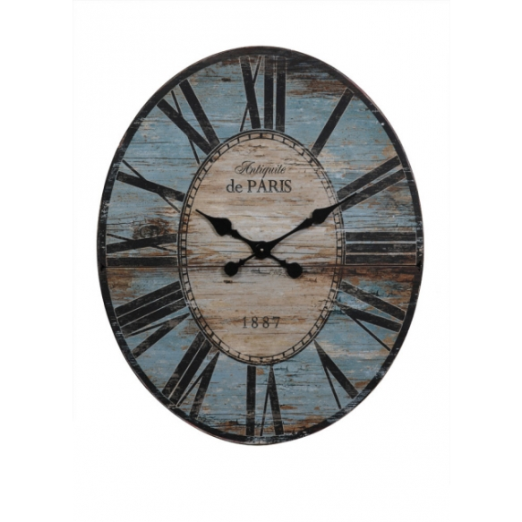 """24-1/4""""L x 29""""H Wood & MDF Oval Wall Clock, Turquoise"""