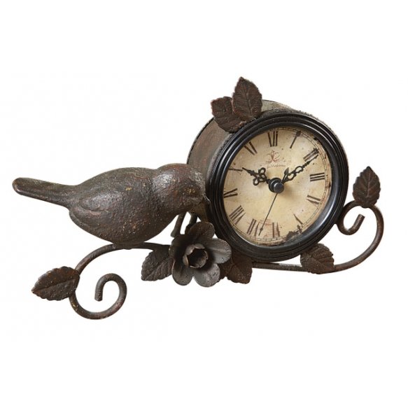 "10""H Metal Mantle Clock w/ Bird & Flower, Rust"
