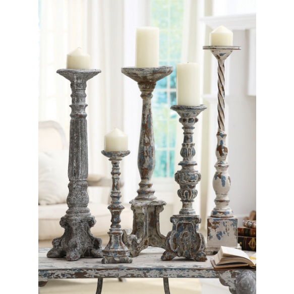 "19-1/2""H Resin Pillar Holder, Holds 3"" Pillar Candle, Antique Blue Finish"