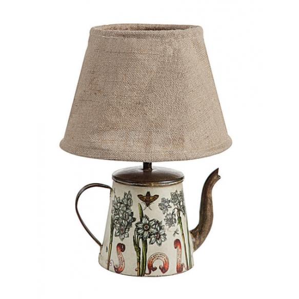 """15""""H Tin Teapot Lamp w/ Burlap Shade (40 Watt Bulb Maximum)"""