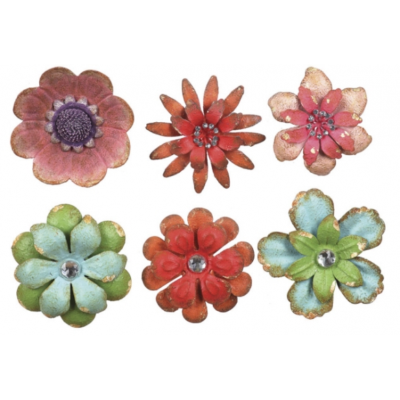 "4"" Round Metal Flower Magnet, 6 Styles"