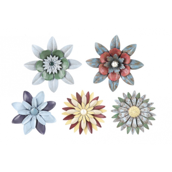 "4-1/2"" Round Metal Flower Magnet, 5 Styles"