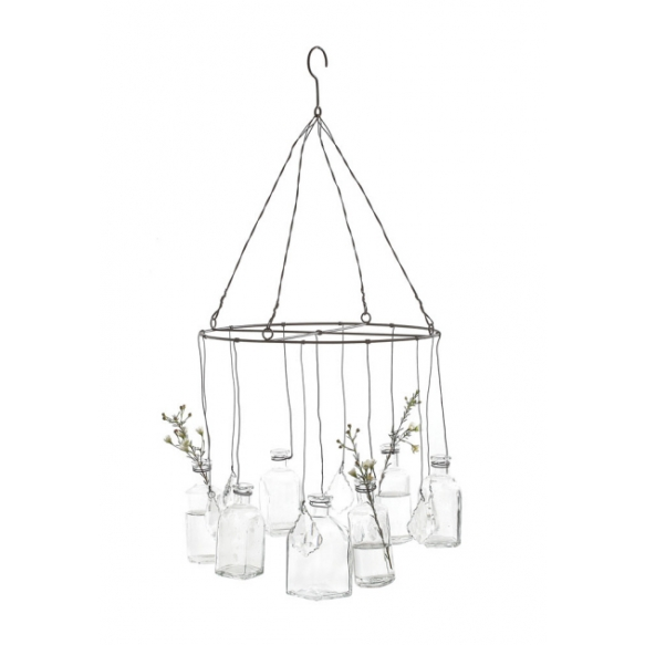 """12"""" Round x 24""""H Wire Hanging Glass Vases w/ Crystals"""