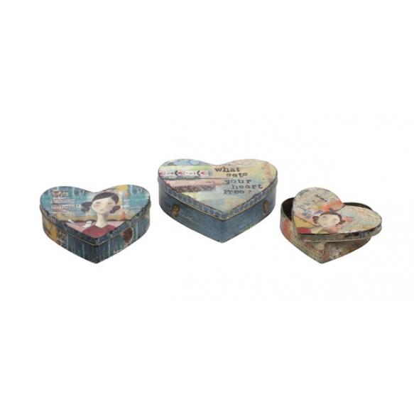 """6-1/4"""", 7-1/4"""", & 8-1/4""""L Tin Heart Boxes, Set of 3"""