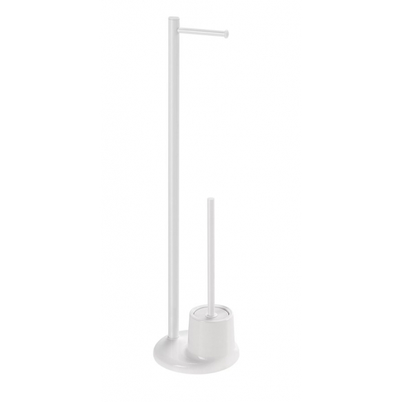 Stand with toilet paper and toilet brush holder, white