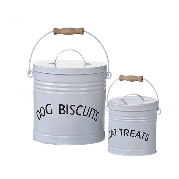 """7-3/4""""W x 11""""H Tin """"Dog/Cat"""" Containers, Set of 2"""