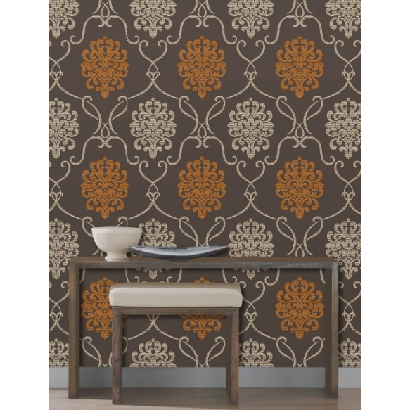 Accents Damask Chocolate/Orange