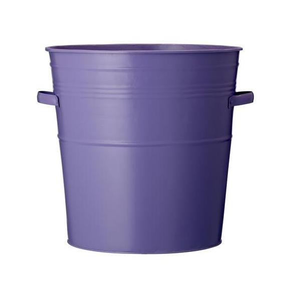 Bucket in zinc w/handle, purple
