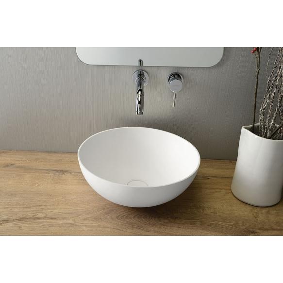 THIN top counter rockstone washbasin 390x145 mm, matt white