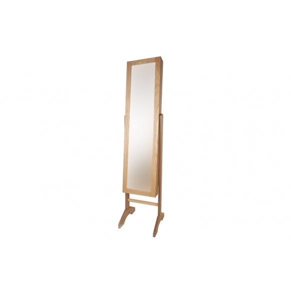 Wooden cabinet w mirror, natural