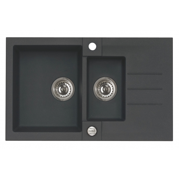 granite basin 78x48x18 cm, G91 black, automatic siphon