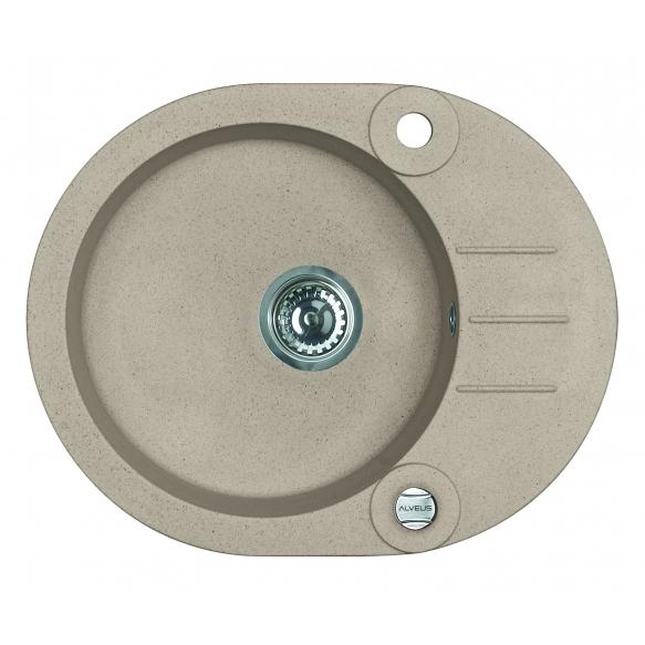 granite basin 59,5x47,5x16 cm, G55 beige, automatic siphon