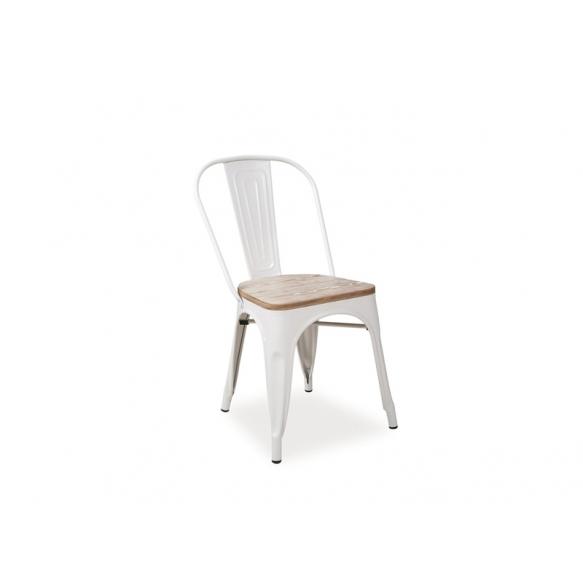valge vintage metalltool puidust istmega