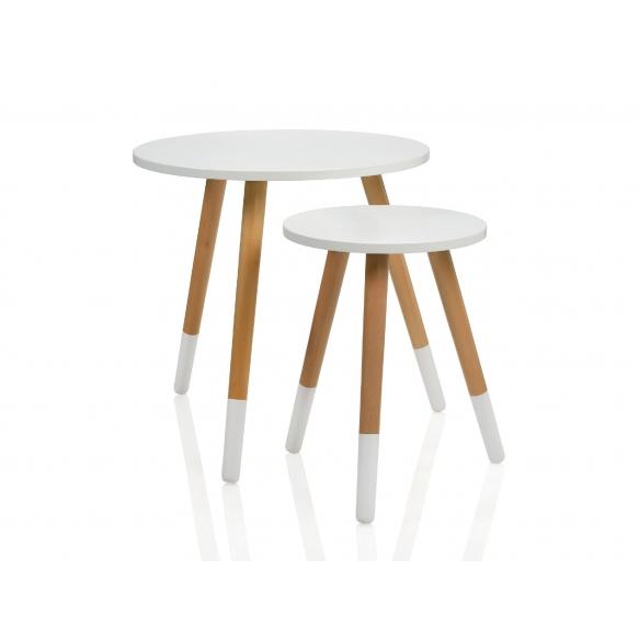 SET OF 2 ROUND NAT.WOOD/WHITE TABLE