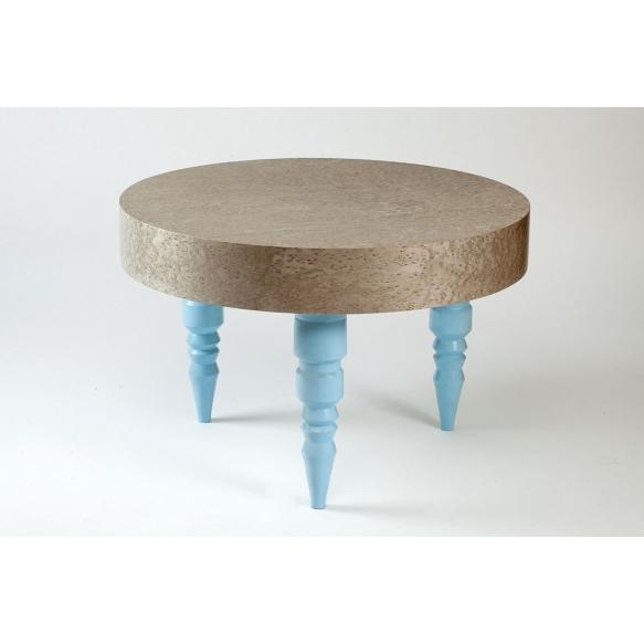 coffee table, round, golden birch+ blue RAL6034