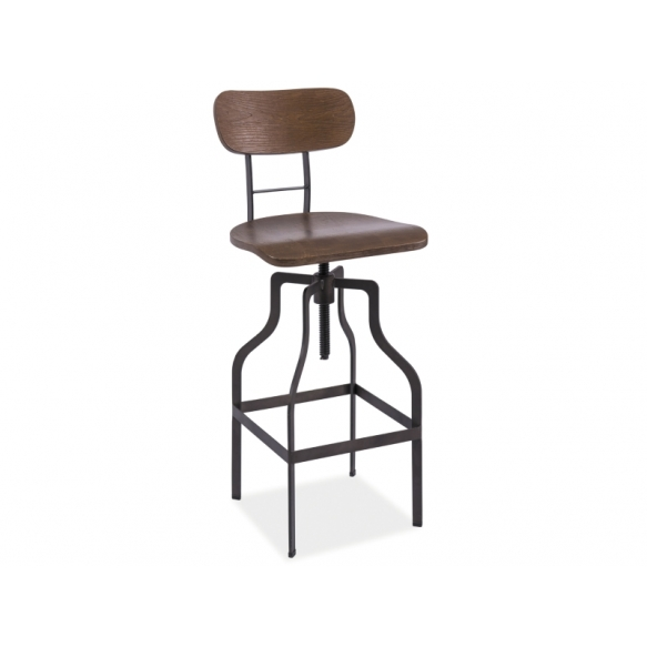 bar stool Industrial with back rest, wood+metal