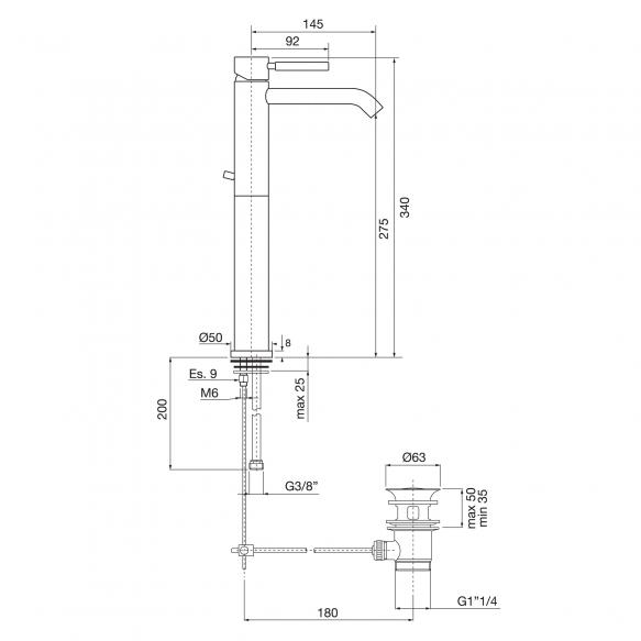 high basin mixer Form A, chrome finish