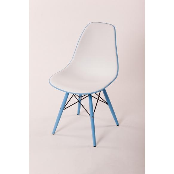 chair Alexis V, white/blue seat, blue feet