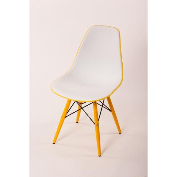 chair Alexis V, white/yellow seat, yellow feet