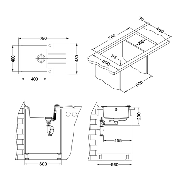 kivivalamu ROCK130-G11 78x48x18 cm, valge, automaatsifoon
