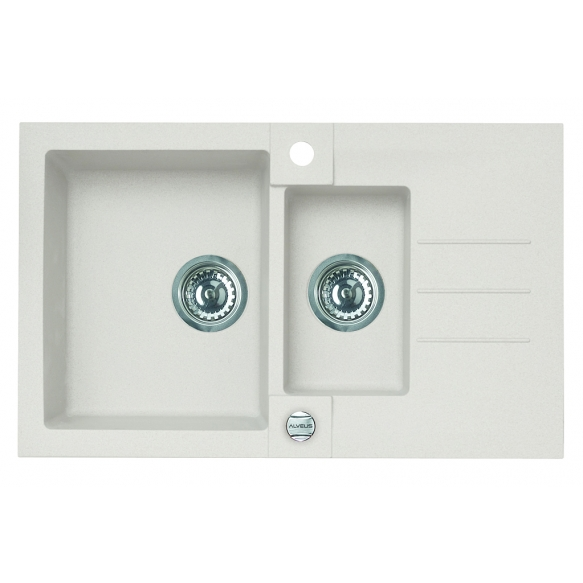 granite basin ROCK70-G11 78x48x18 cm, white, automatic siphon
