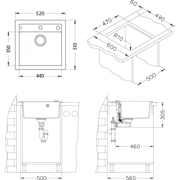 granite basin Formic20 52x51x20 cm, G11 white, automatic siphon