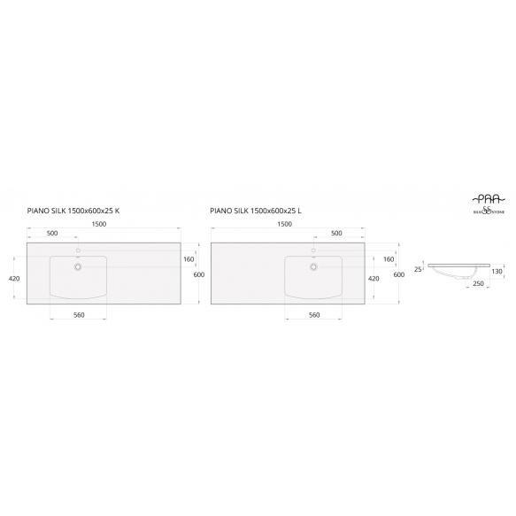 silkstone basin Piano 150cm,basin on  left