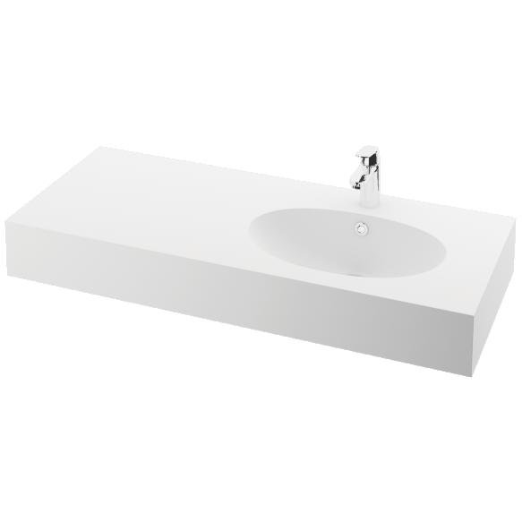 silkstone basin Ovo 120cm,basin on  right, h 15 cm