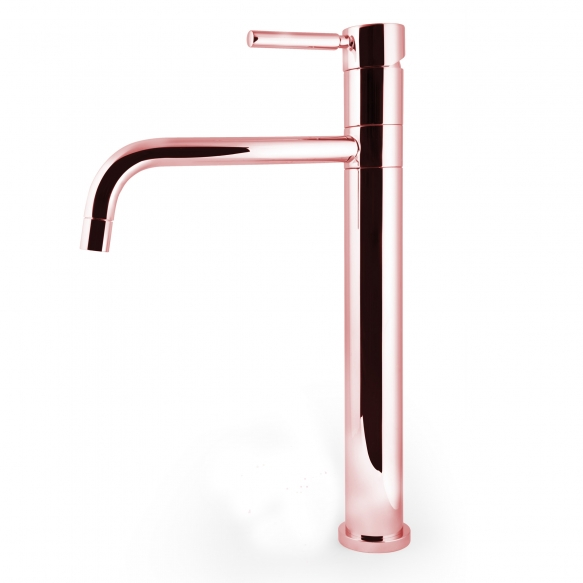 high basin mixer Form A with swivel spout, rose gold finish