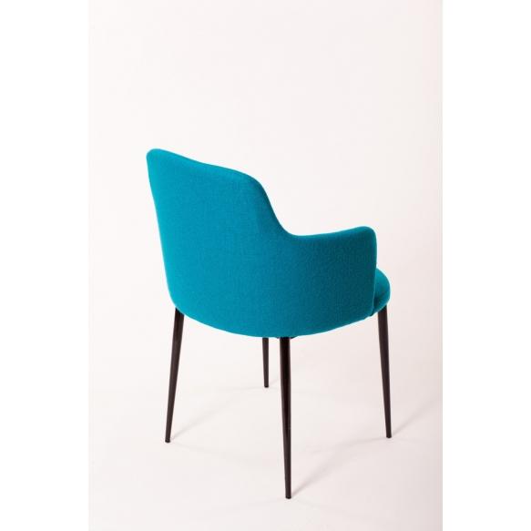 armchair Norman B, fabric Nordic blue (HO-10), black metal feet