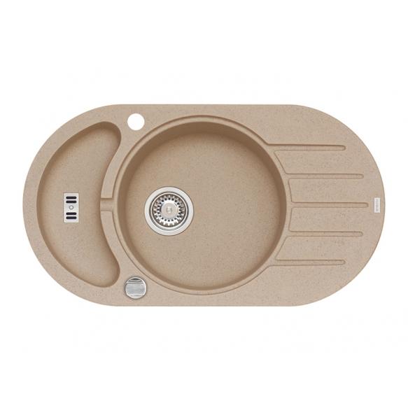 granite basin NIAGARA50, 78x43.5x16 cm, G55 beige, automatic siphon