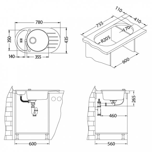 kivivalamu NIAGARA50, 78x43.5x16 cm,värv G91 must, automaatsifoon