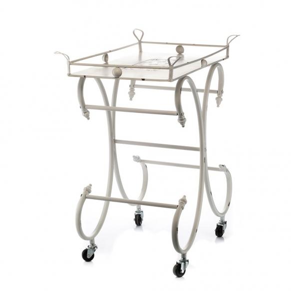 metal vintage serving table with wheels